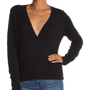 Madewell Black Wrap-Front Pullover Sweater